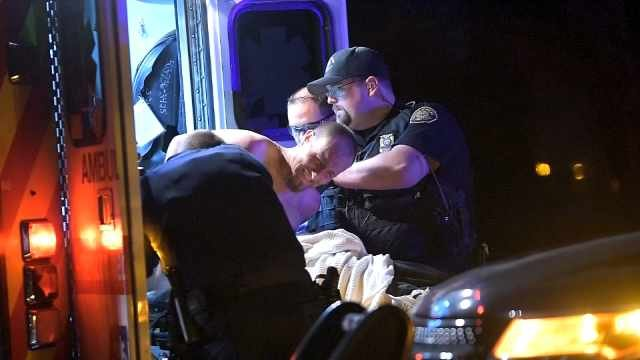 The suspect was taken to the hospital for treatment of possible drug use, according to police