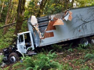 The delivery truck that crashed through a SE Portland neighborhood.