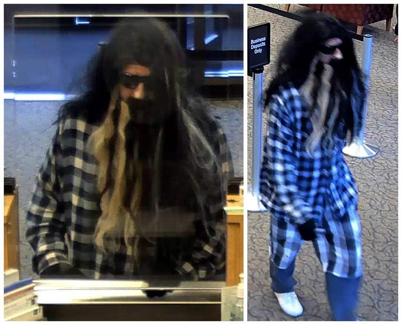 Wells Fargo attempted bank robbery suspect (Surveillance images from Portland Police Bureau)