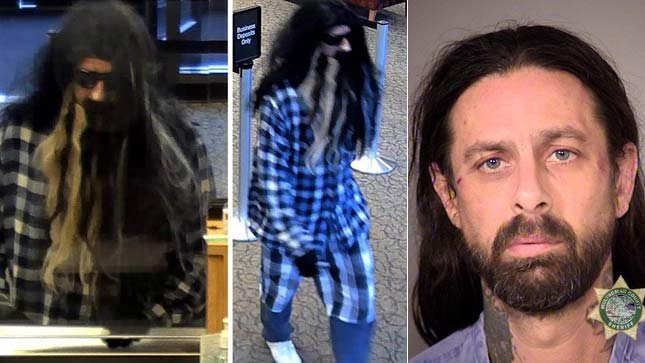 Surveillance images from attempted bank robbery at Wells Fargo in SE Portland, along with jail booking photo of Phillip Nelson