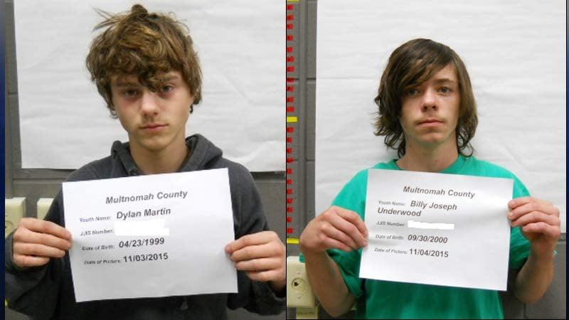 Dylan Martin, Billy Underwood, booking photos