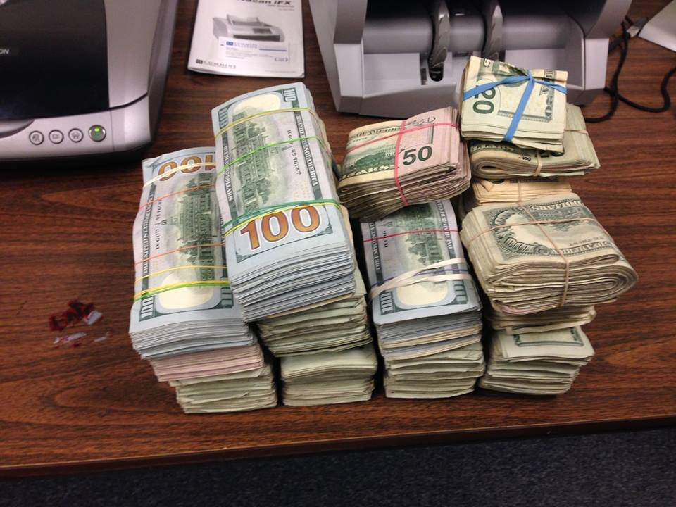The cash recovered in the bust, courtesy of the Clark County Sheriff's Office.