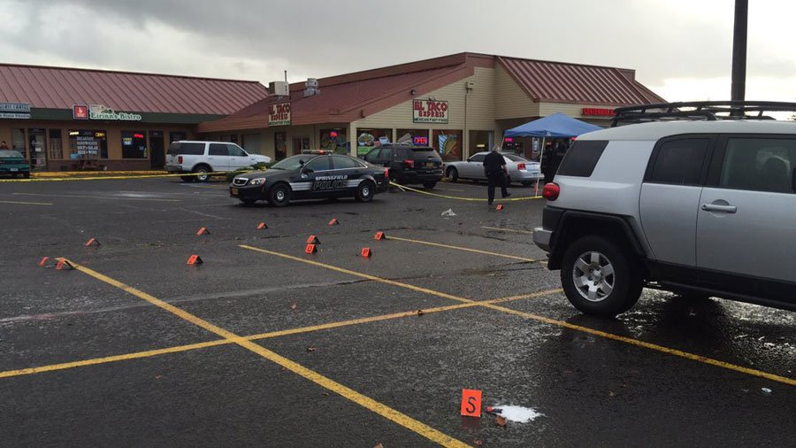 The parking lot where one of the pedestrians was hit and killed (Photo: Chenue Her/KEZI 9 News)
