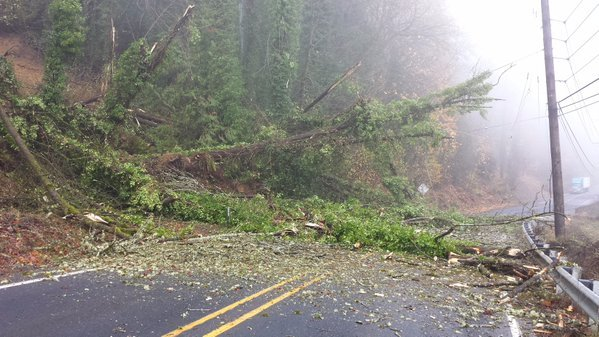 A landslide blocks a highway north of Kelso, WA (Photo: WSDOT)