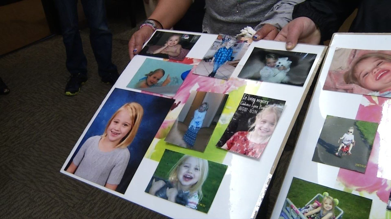 Photos of Cadence Boyer brought to the courtroom by her family Friday.