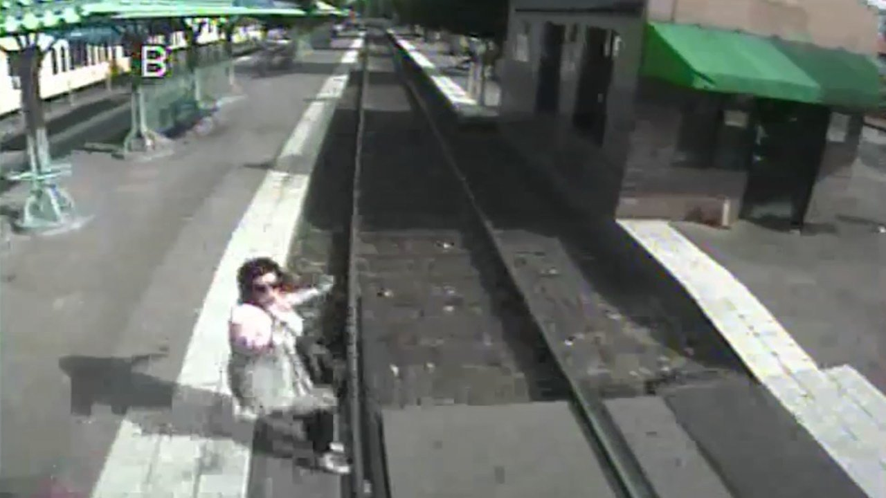 TriMet surveillance image of close call involving a MAX train