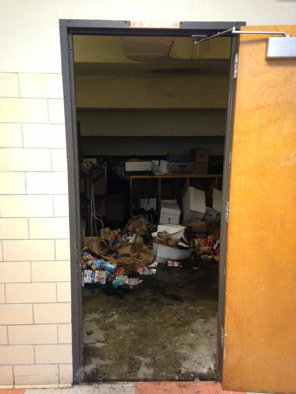 Storage closet where a fire was set at Madison High School.