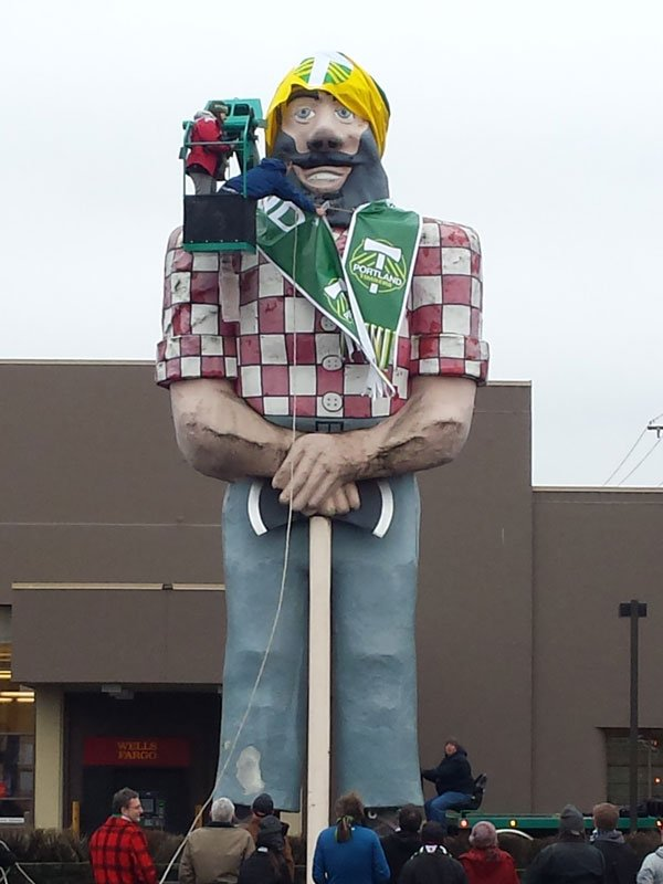 The Paul Bunyan statue stands at the intersection of N. Denver and N. Interstate Avenues in Portland's Kenton neighborhood.