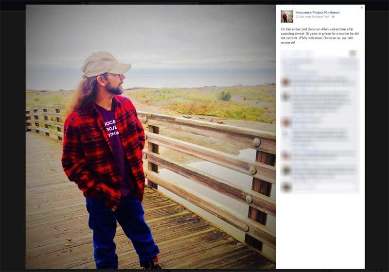 Image of Donovan Allen from Innocence Project Northwest on Facebook