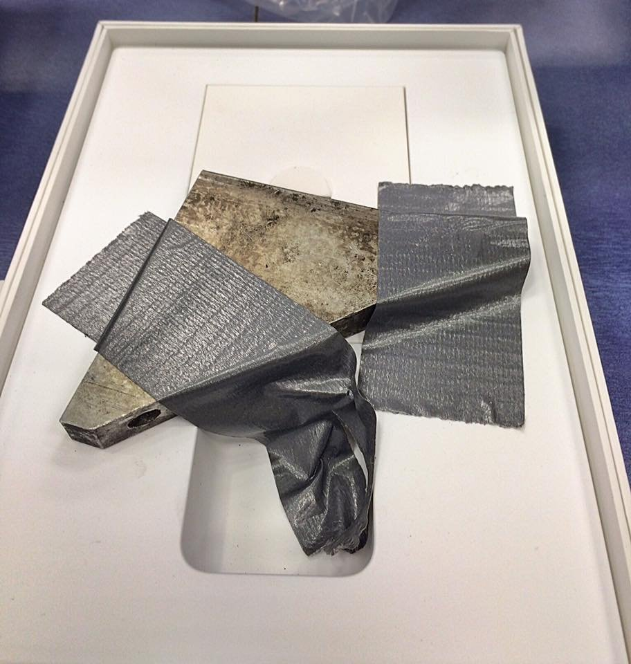 The chunk of metal found inside an iPad Air 2 box, courtesy of Marilyn Clint.