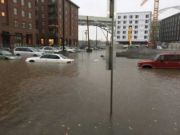 Streets in the Pearl District of NW Portland covered in water (Photo: Daniel Purvis/Facebook)