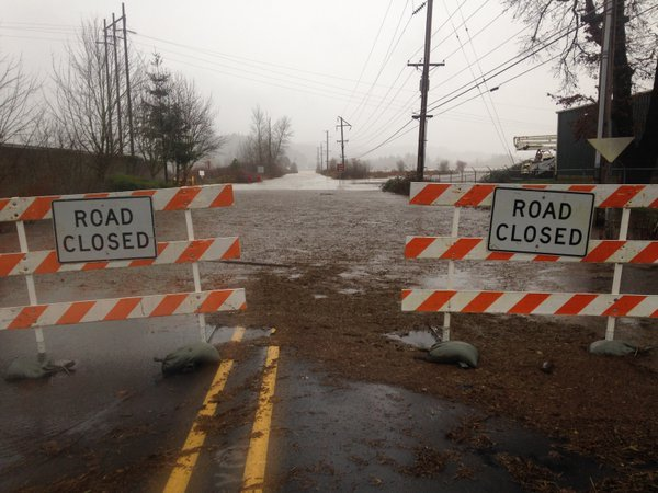 Fern Hill Road in Forest Grove is one of several area roads closed because of high water