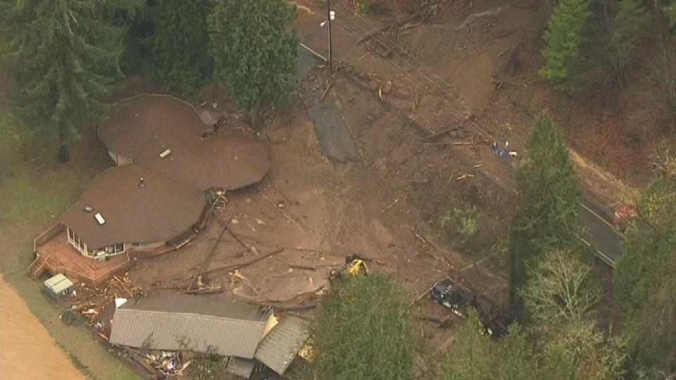 Heavy rains flooded parts of Kalama, Washington, Tuesday night.
