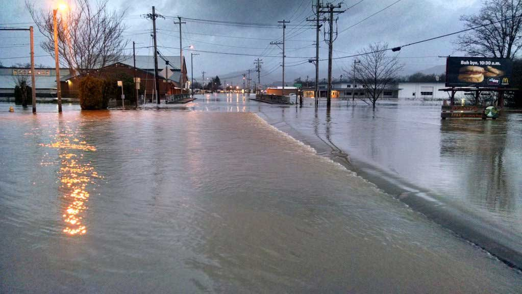 A flooded street in Tillamook, OR