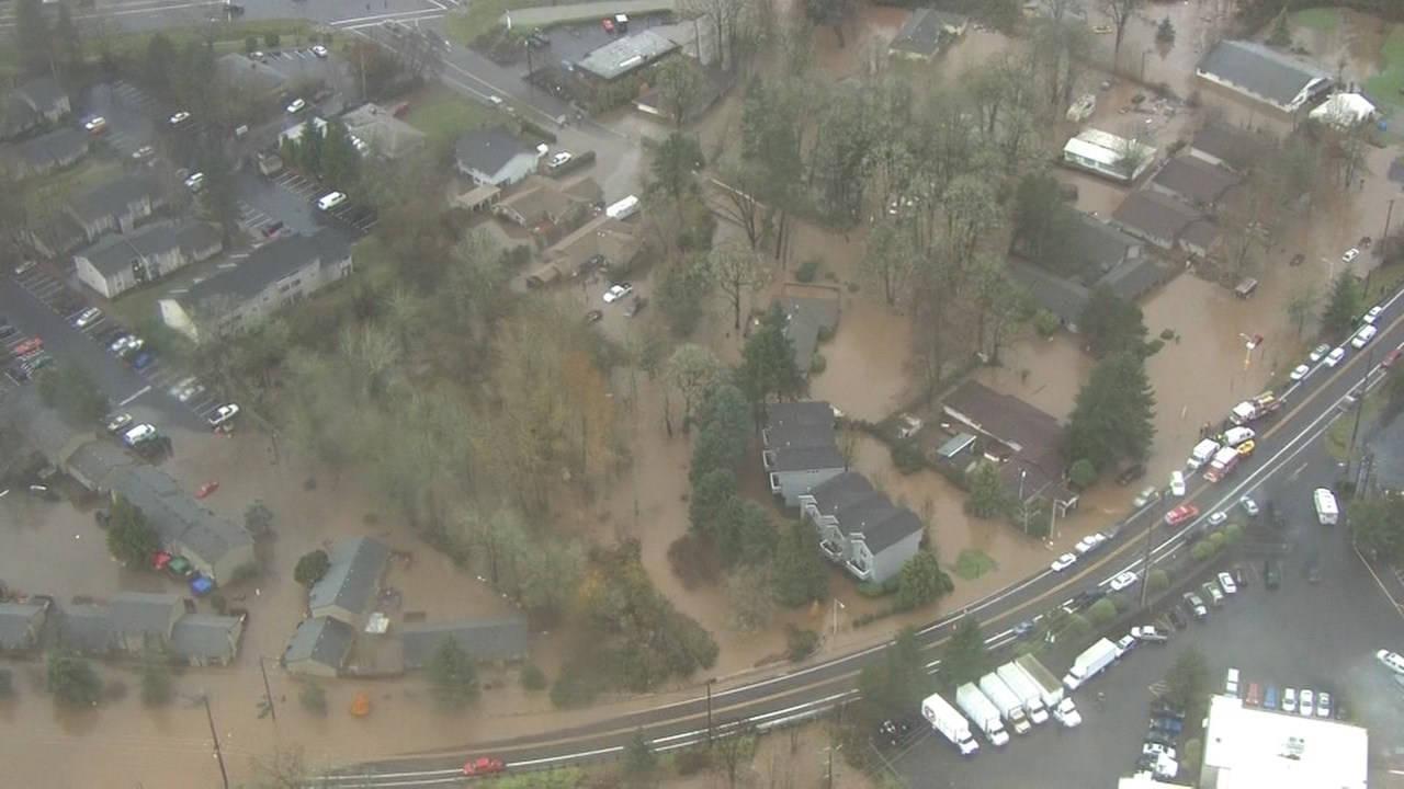 High water inundates a Milwaukie, OR neighborhood on Monday, Dec. 7.