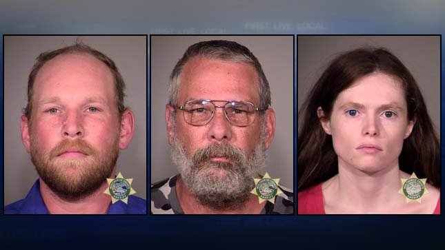 Jail booking photos of, from left, James Hickerson, Neil Hickerson, Carolyn Knudsen.