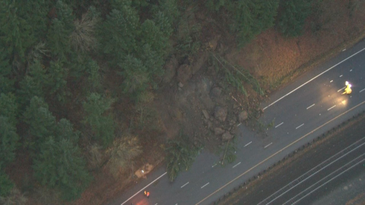 Mudslide on I-5 near Woodland