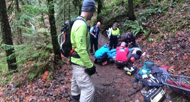 Rescue at Triple Falls. Courtesy: Multnomah County Sheriff's Office