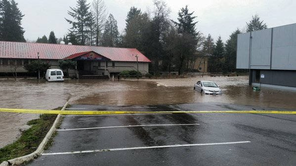 Flooding off Beaverton-Hillsdale Highway last week.