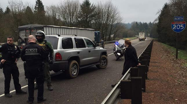 Scene of DUII arrest on I-205 (Photo: Clackamas County Sheriff's Office)