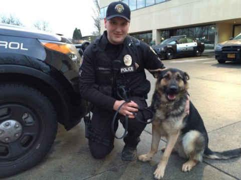 Officer Matt Barrington and K9 Officer Atlas. (Photo: Beaverton Police Department)