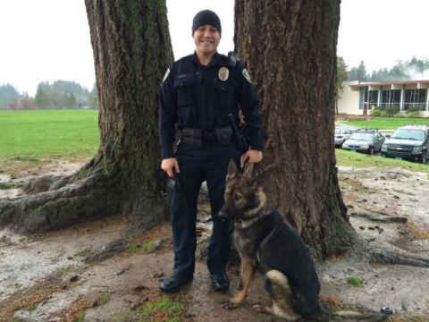 Officer Jared Lutu and K9 Officer Toa (Photo: Beaverton Police Department)