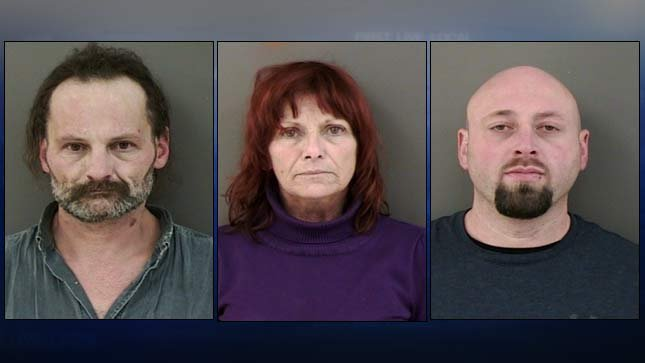 Jail booking photos, from left, of Richard Sell, Eileen Scott, William Pace III