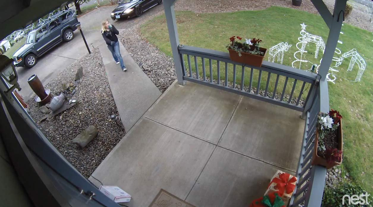 Surveillance image of a package theft at a home near Oregon City