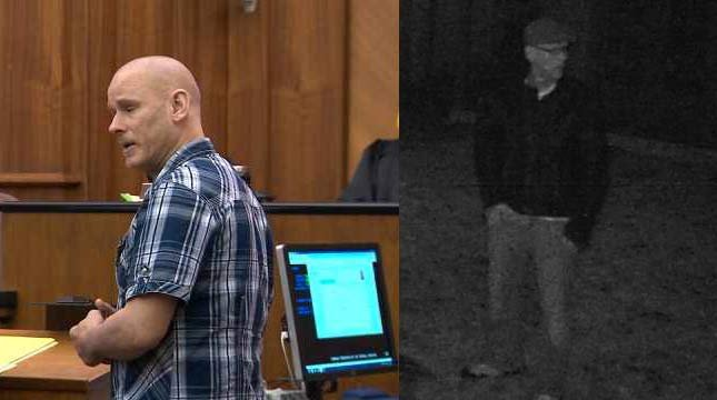 On left, Scotty Rowles during his sentencing for DUI in May. On right, surveillance image of trespassing suspect released by Vancouver PD.
