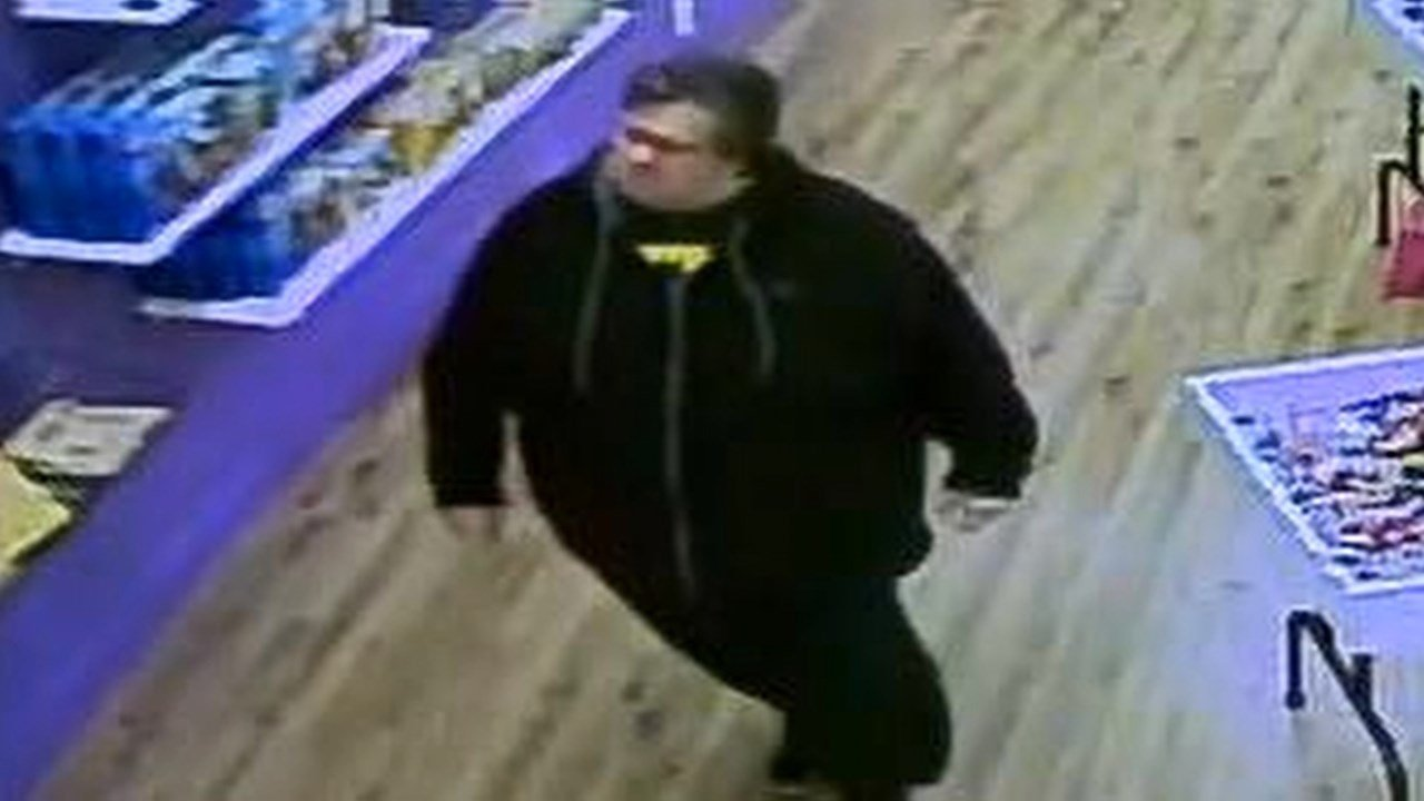 Surveillance image of suspect accused of stealing Star Wars Lego set from Bricks & Minifigs in Beaverton.