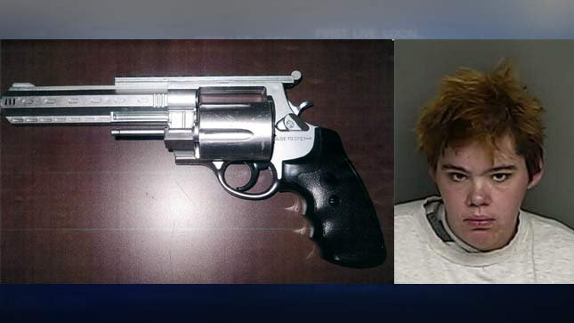 Evidence photo of toy gun from Corvallis PD on left, jail booking photo of Sarah Rodgers on right