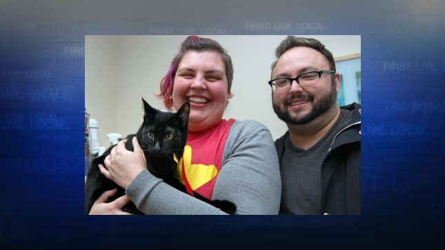 Panther with his new family, Belle Hofstetter and Benny Herbert. (Photo: Oregon Humane Society)