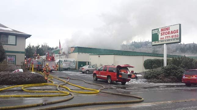 Storage facility fire in SE Portland