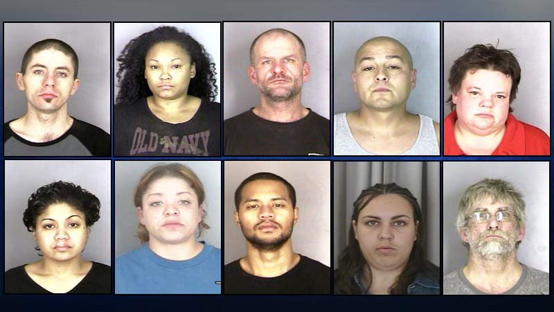 Ten suspects were arrested - nine for possession of meth - when a warrant was served at a Salem home next to a Serenity Lane drug treatment center.