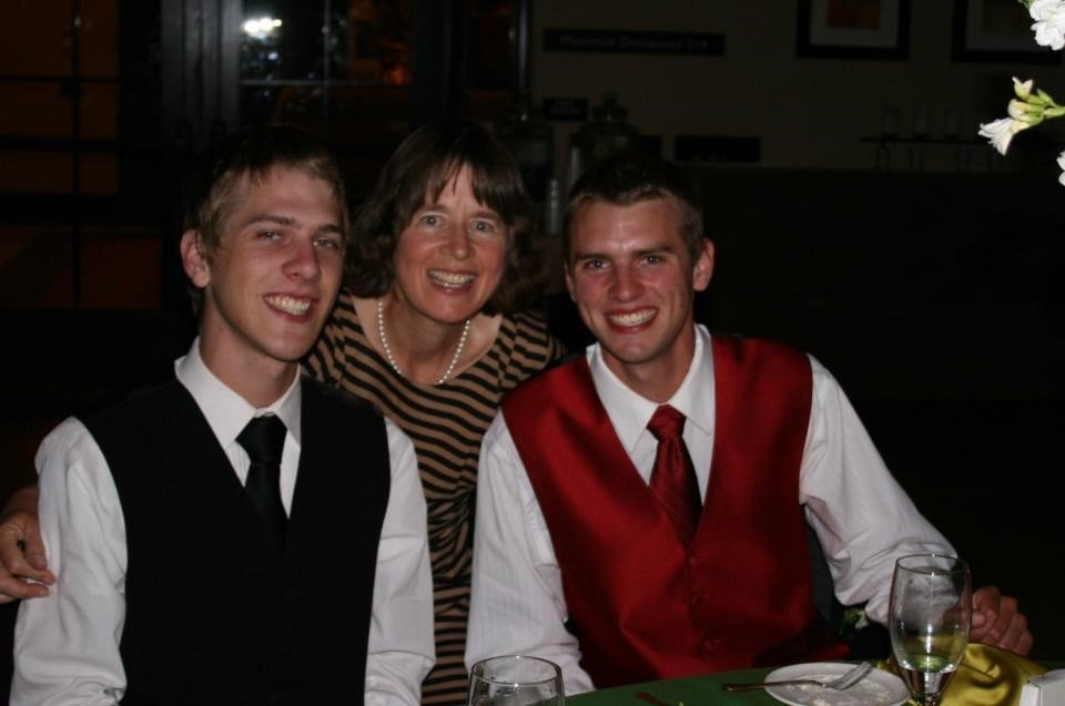 Kirsten Englund and her sons, Nick and Andrew Wiegardt.