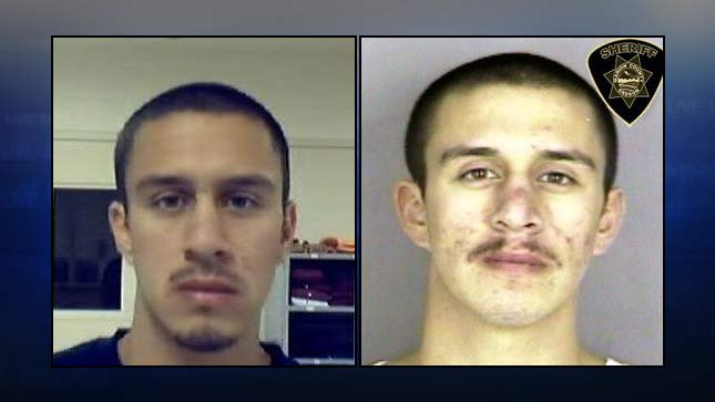Hilario Lopez, Oregon Department of Corrections photo on left, latest Marion County Jail booking photo on right.