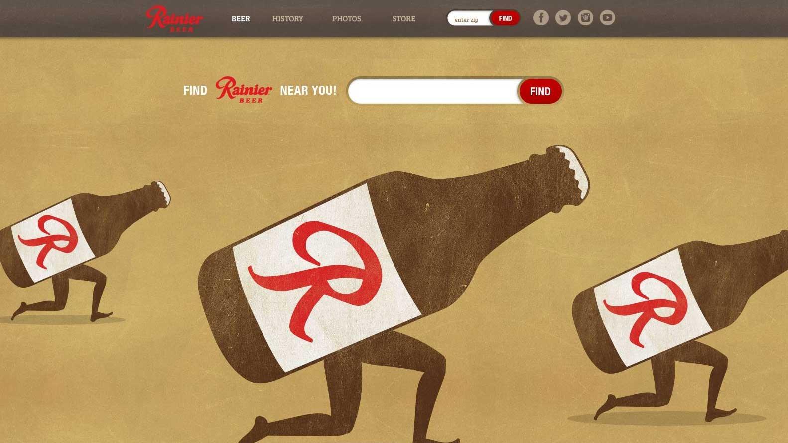 Screenshot of Rainier website