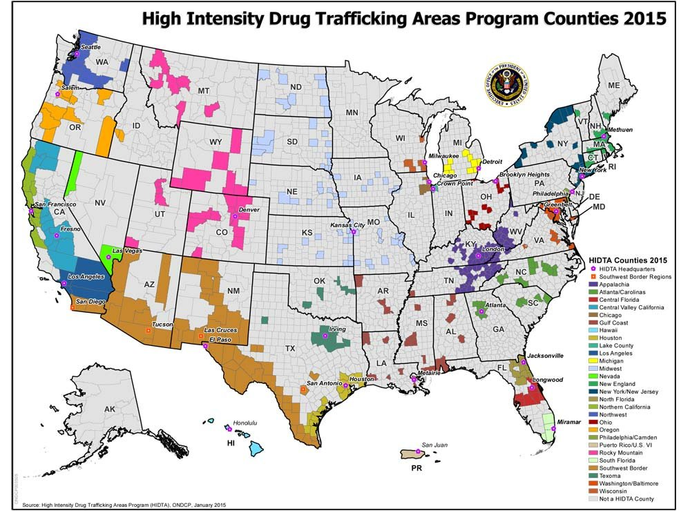 High Intensity Drug Trafficking Areas map from Whitehouse.gov