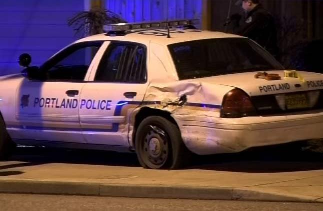 The PPB patrol vehicle being driven by Officer Allison Renander  was rear ended by Gary Clark on Feb. 27, 2105. Clark was later convicted of DUII. (KPTV)