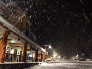Several inches of new snow falling at Government Camp