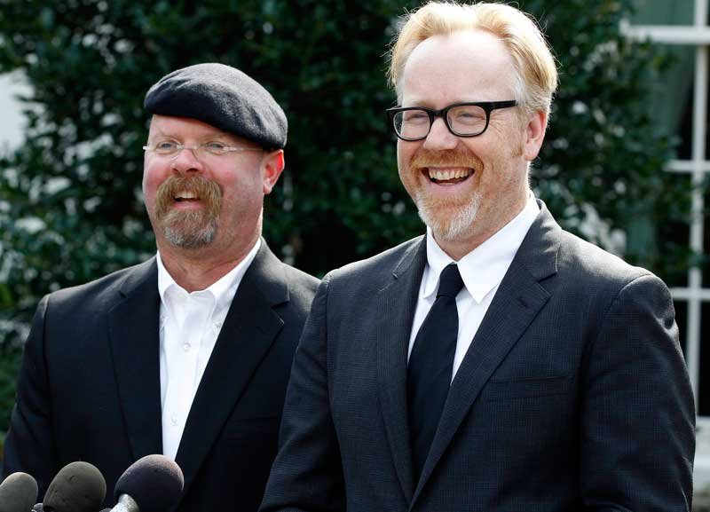 Discovery Channel's MythBusters hosts, Jamie Hyneman, left, and Adam Savage, speak to reporters outside the White House in Washington, Monday, Oct. 18, 2010, after they taped a segment with President Barack Obama. (AP Photo/Charles Dharapak)