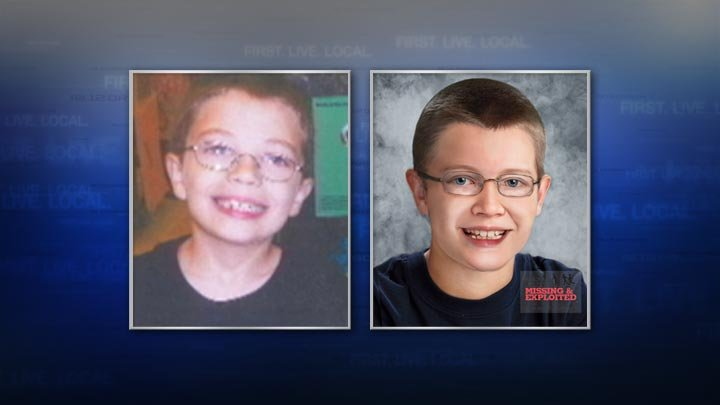 At left, a photo from the day Kyron Horman disappeared. At right, an age progression image from the National Center for Missing & Exploited Children.