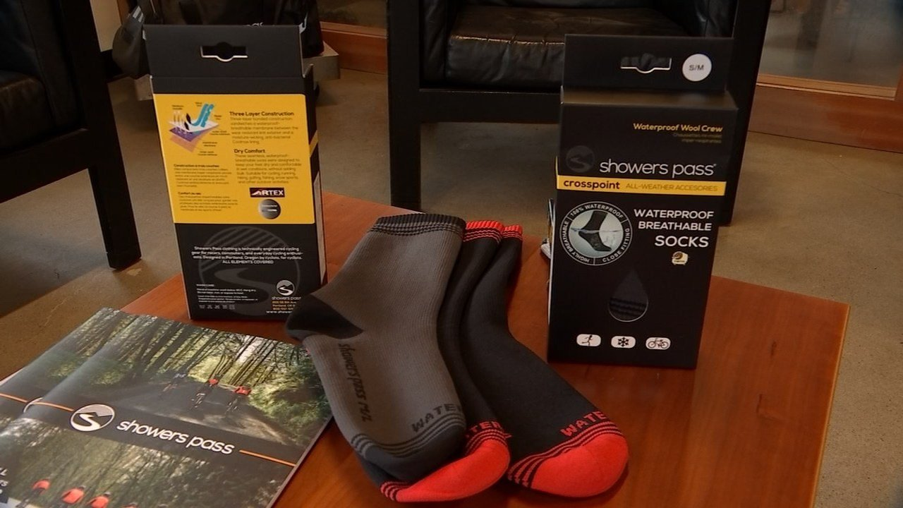 The Crosspoint waterproof crew socks created by Showers Pass.
