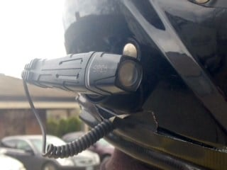 The helmet camera, currently worn by BPD motorcycle officers.