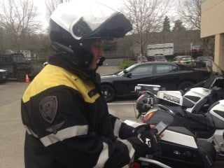 Officer Bryan Dalton, wearing his helmet camera.