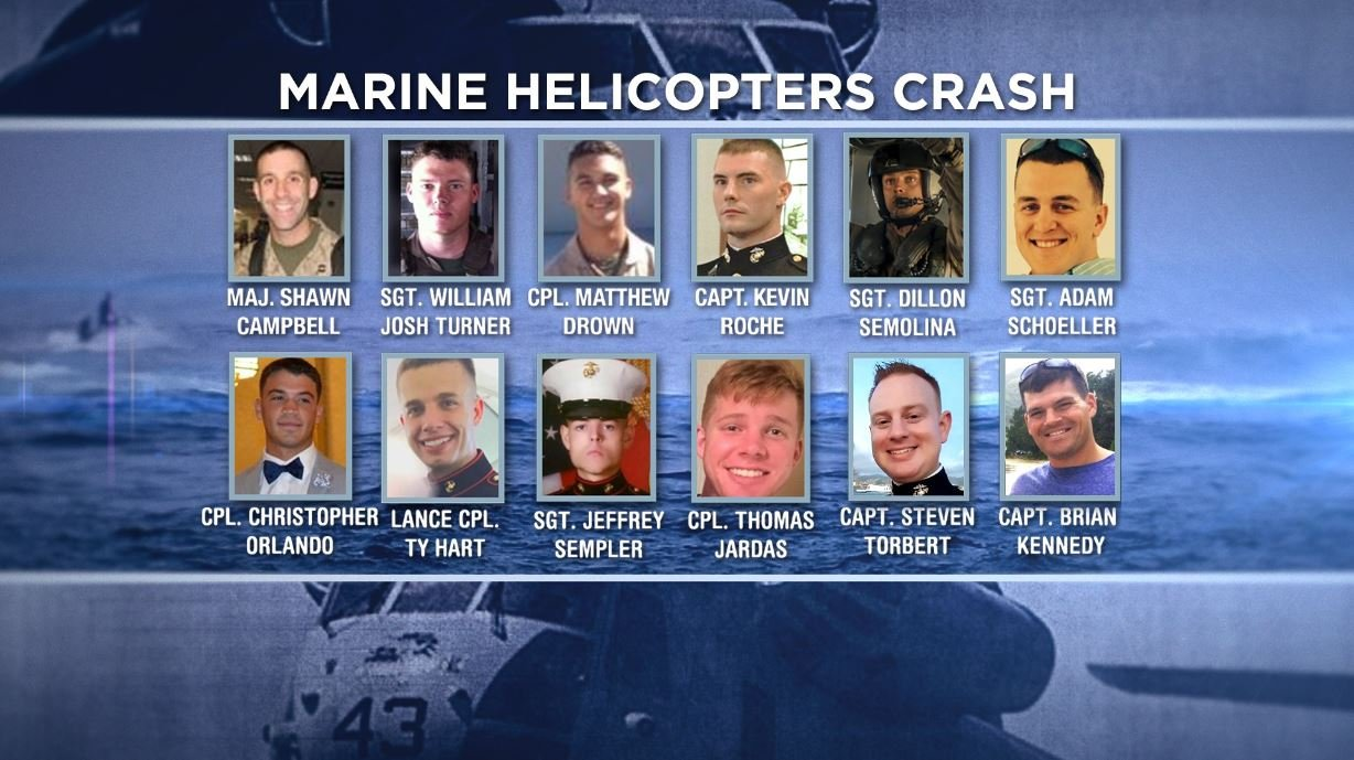 12 Marines were killed when their helicopters collided off the coast of Hawaii.