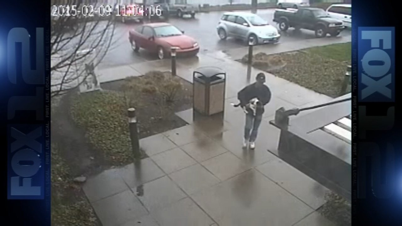 Surveillance image of dog theft suspect at Oregon Humane Society