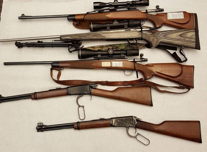 Stolen rifles seized from homeless men's tent in NW Portland (Photo: Portland Police Bureau)