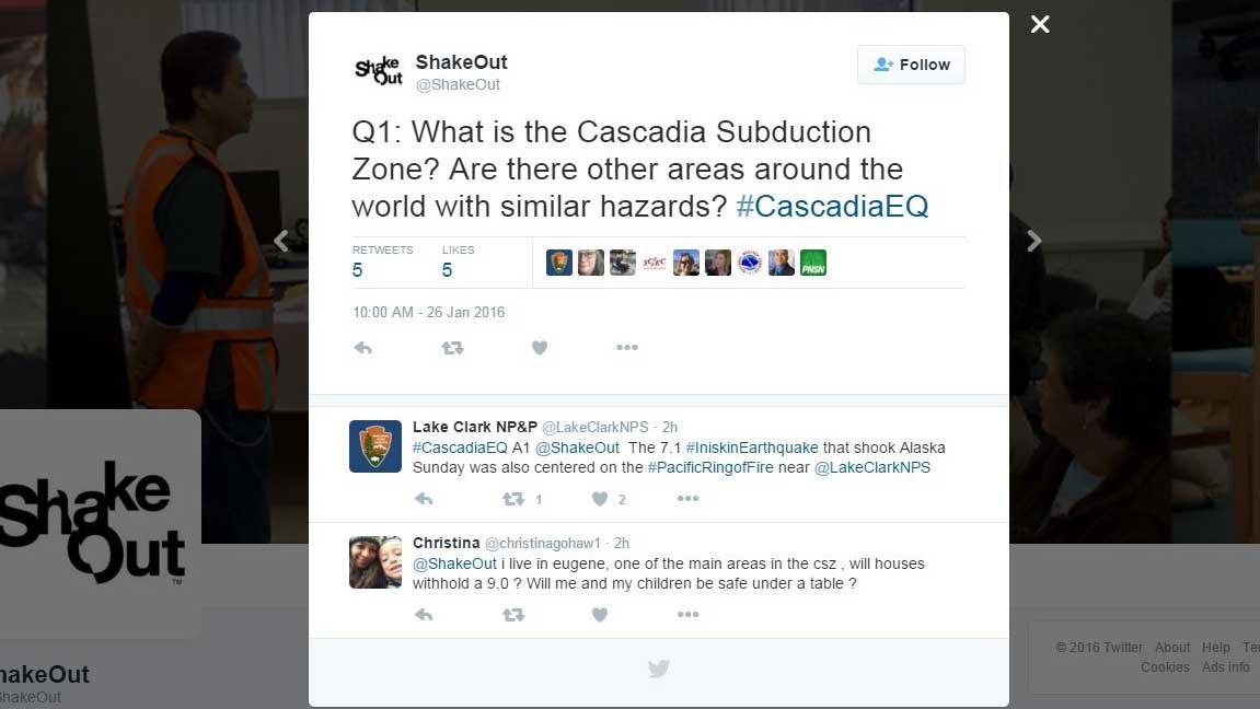 Screenshot of @ShakeOut Twitter page