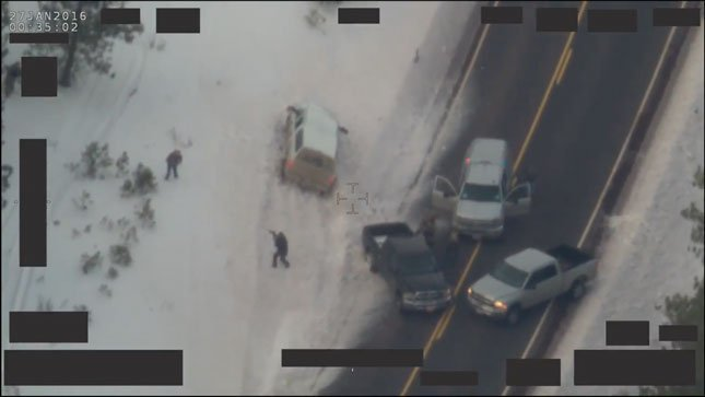 Image from FBI video of deadly confrontation with Oregon wildlife refuge occupiers on Highway 395.